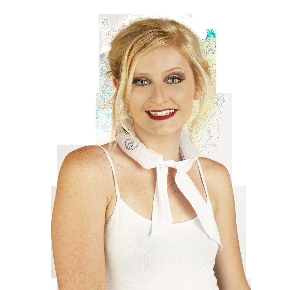 White Imprinted Coolneckwear